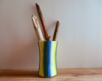 Blue Vase /  yellow green white striped vase / painted home decor