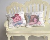 Shabby chic cushions with angels for dollhouse in 1/12 scale