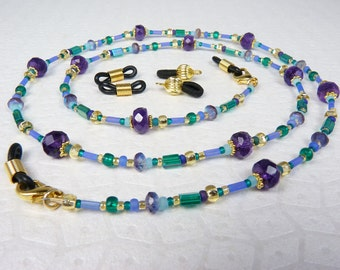 Eyeglass Chain with Extra Loops, Large Faceted Amethyst Gems, Teal, Purple, Lavender, Aqua, and Gold Beads - Dragonfly