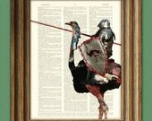 The Ostrich Knight is ready for the Joust beautifully upcycled dictionary page book art print