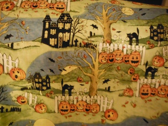 Halloween Fabric  Haunted Houses, Black Cats, Pumpkins  n more... HARD Find