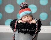 Baby Boy Earflap Beanie in Red, Aqua, Grey, and Black