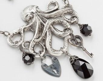 Steampunk necklace silver octopus pendant skeleton key heart padlock vintage black jet crystal Neo Victorian filigree Steampunk Nation R1077