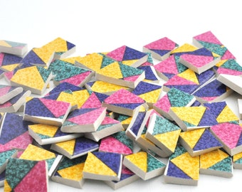 Broken China Mosaic Tile - Colorful Geometric - Triangles - Set of 100