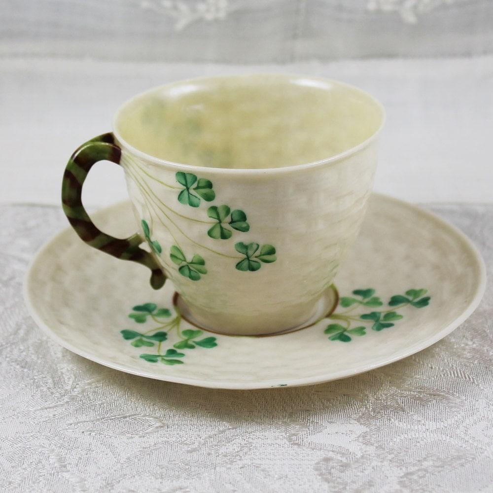 Belleek Irish China Shamrock Tea Cup on Antique Style Dinnerware