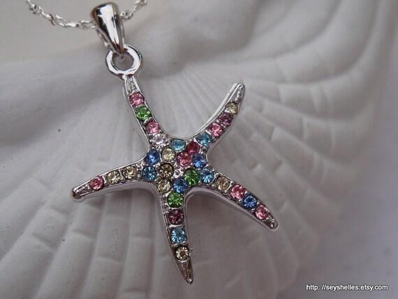 Multi Colored Stone Starfish Necklace