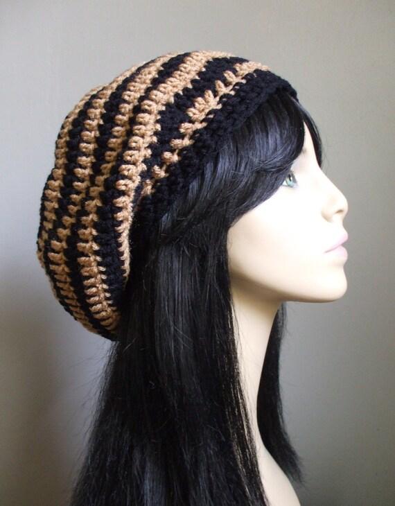 Crochet Slouchy Hat Beret Tam Rasta Style Hot Bohemian Trend TAN BROWN STRIPES Handmade Ready to Ship