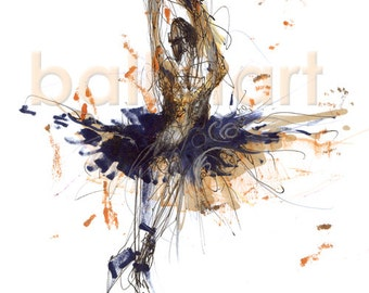 Bolshoi Ballet Dancer, dance painting, ballet art, art print, wall art, dance teacher gift, abstract painting, figure drawing, dance artwork