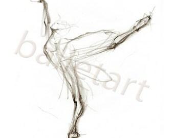 Black and White Arabesque, Ballet Art, art print, pencil drawing, dance wall art, ballerina gift, interior design, artwork, gift for dancer
