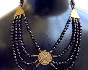 Stunning Egyptian Revival Boho Brass Glass Bib Vintage Necklace