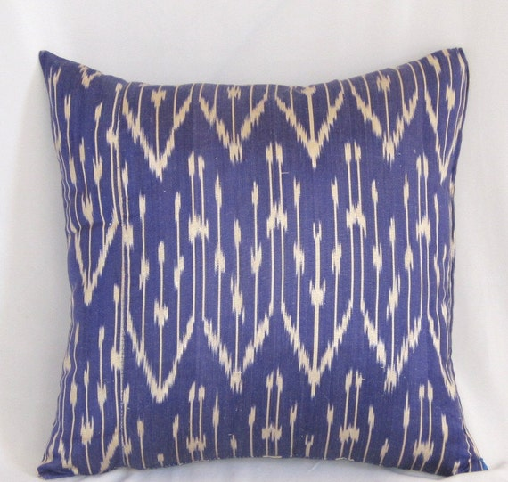 16x16 Silk cotton Uzbek Ikat Pillow case - BOTH SIDE IKAT