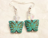 Butterfly Howlite Stone Earrings, Turquoise Blue color
