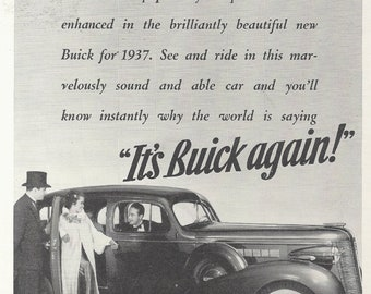 BUICK FOR 1937, Vintage Automobile Ad from December 1936 National Geographic Magazine, Original Black and White Illustration