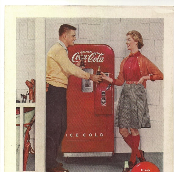 October 1955 COCA COLA COKE Vintage Ad - Original Back Cover from National Geographic Magazine