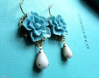 Chloe earring - Blue sakura cherry blossom with white teardrop milky white stone danglw earring