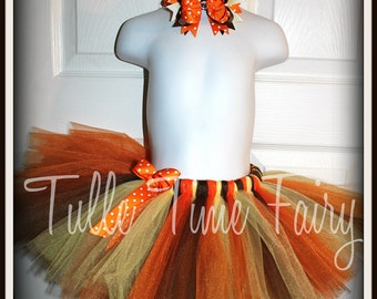 Autumn Thanksgiving fall tutu and bow included Girls size 6, 7/8, 10/12, 14