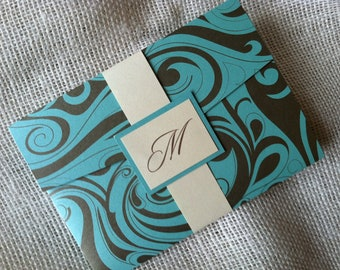 5x7 Pocket Invitation Suite with Belly Band and Monogram Mount