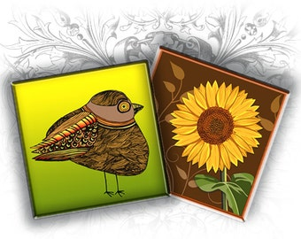 INSTANT DOWNLOAD - Birdies 1 x 1 Inch Squares Digital Collage Sheet Download and Print
