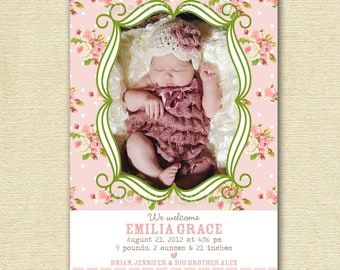 Photo Birth Announcement, New Baby Announcement, Girl Birth Announcement, Baby Girl Announcement, Rose Announcement, Announcement Card