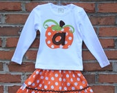 Pumpkin Fall Applique Shirt...Ready for Delivery...Available in Size 18m, 2, 4, 6, 8 and 10