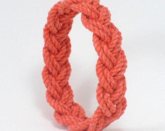 Surfer Bracelet Orange Cotton String a Narrow Sailor Knot Bracelet