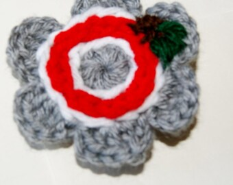 Fall and Winter Fashion Hair clip or Brooch / OSU / Buckeye / Handmade Ohio State Flower / Grey and Red / School Colors
