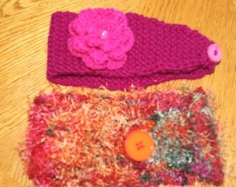 Stretchy Hand Knit Head Wrap Ear Warmers with button / Crochet flower / Headband in your colors / Winter and Fall fasion