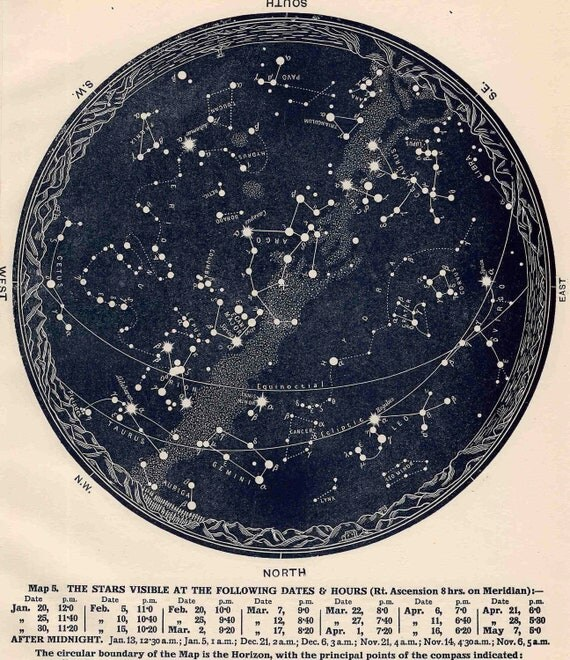 1942 constellations star map original vintage celestial print february march april - southern hemisphere