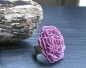 1 Dollar Super CLEARANCE SALE - Lavender Fields. Huge Flower Cabochon Cocktail ring.