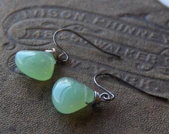 Sea Spray. Celery - Mint Green heart briolette earrings