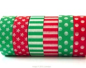 Christmas Washi Tape Red, Green holiday washi tape CHOOSE ONE