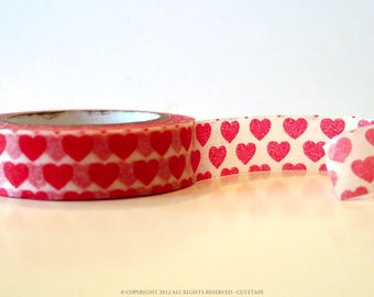 Red Hearts Washi Tape Red Hearts on White