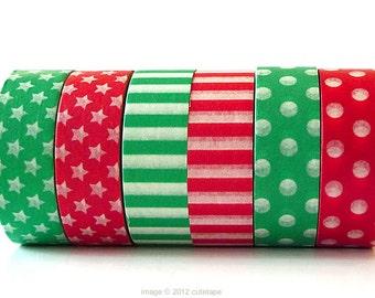 Stars Stripe Dots Washi Tape (Chugoku) Red, Green CHOOSE ONE