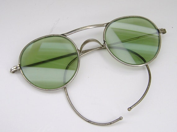 Vintage 1950s Hippie Round Green Sunglasses Eyeglasses Frame American Optical