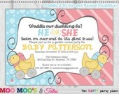 Printable WADDLE IT BE Gender Reveal Party Invitation by Moo Moo's & Tutus Design Studio