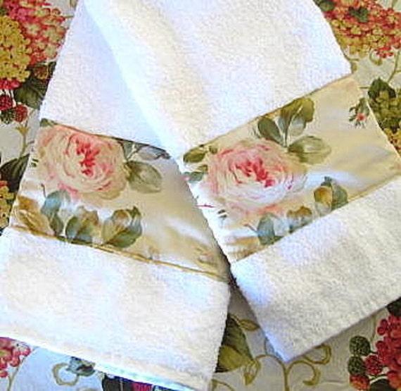 Ralph Lauren Classic Towels: WOODSTOCK Custom Decorated Cream Hand Towels Ralph Lauren