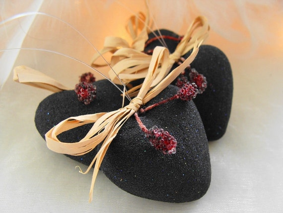 Christmas Tree Ornaments,  Christmas Ornaments, Rustic Heart Ornaments, Charcoal, Berry, Hearts,Tree Decoration, Table Decor