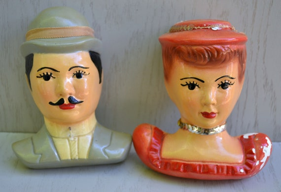 Vintage Chalkware Man & Lady Heads Wall Hangings