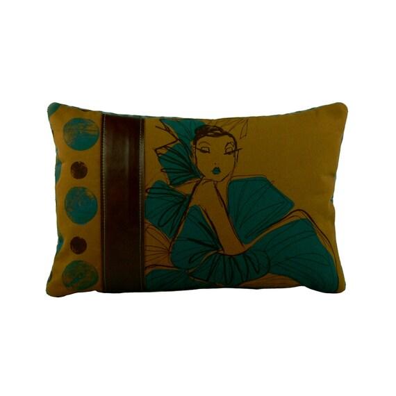 STUDIO CLEARANCE SALE ***  ooak Exotic Brown screen print 12x18 decorative throw pillow