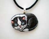 Tuxedo Cat Necklace- Hand Paint Art Pendant -  miniature stone art- gift under 50 for cat lovers