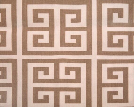 1 yard - Premier Prints Towers Sherbet Soft Grey/Twill Geometric fabric - Greek Key