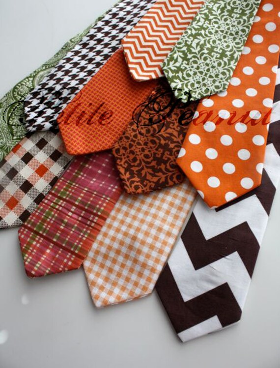 Little Guy Necktie Tie - Autumn Collection - (Newborn - 12 months) - Baby Boy Toddler - Custom Order - Wedding - Photo Prop