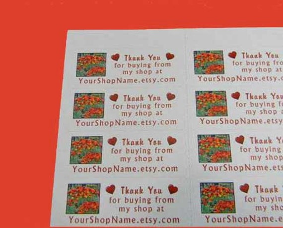 30 PERSONALIZED Thank You Labels. 1 Sheet of White 1-Inch Labels Printed in Color. 2804