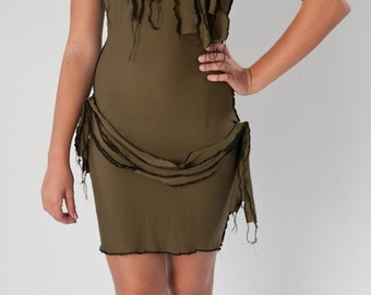 CLEARANCE SALE Sexy Zombie Costume Dress and Scarf Army Green Wiggle Dress Pin Up Halloween Costume