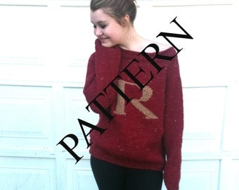 PATTERN - PATTERN - PATTERN - Red Sweater with Letter R - This Listing is for the Pattern Only