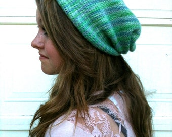Blue Green Knit Bandana Hat