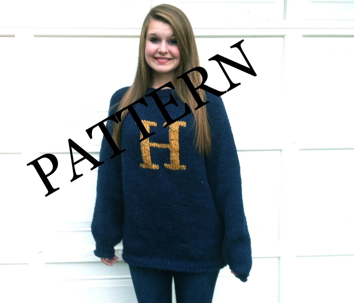 Knitting Pattern For Weasley Sweater : PATTERN PATTERN PATTERN Sweater with Letter H