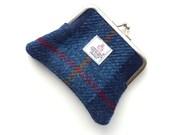 Navy blue coin purse ,  Harris Tweed tartan , hand woven and handmade in Scotland