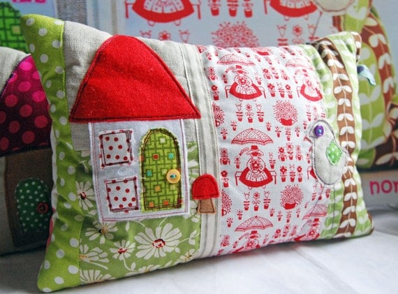 Lovely Scented Pillow in Scandinavian Folk Art fabric with Applique House and Bird