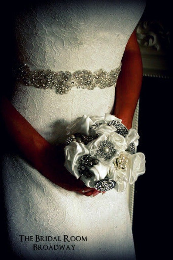 Bridal Brooch Fabric modern wedding bouquet - Satin Ivory handmade flowers -  small - made to order
